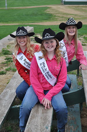 2018-19 St. Croix Valley PRCA Rodeo Royalty invite you to come join the fun and consider becoming a member of the 2019-20 St. Croix Valley PRCA Rodeo Court. Pictured are from left to right: Jessica Moor, St. Croix Valley PRCA Rodeo Princess; Ali Dow, St. Croix Valley PRCA Jr. Rodeo Queen; and MacKenzie Dow, St. Croix Valley PRCA Rodeo Queen.