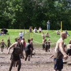 Fair coming to an end with mud volleyball